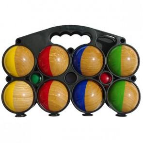 Jeu de 8 boules de pétanque en bois demi-colorées idéal pour jouer pendant les vacances d'été